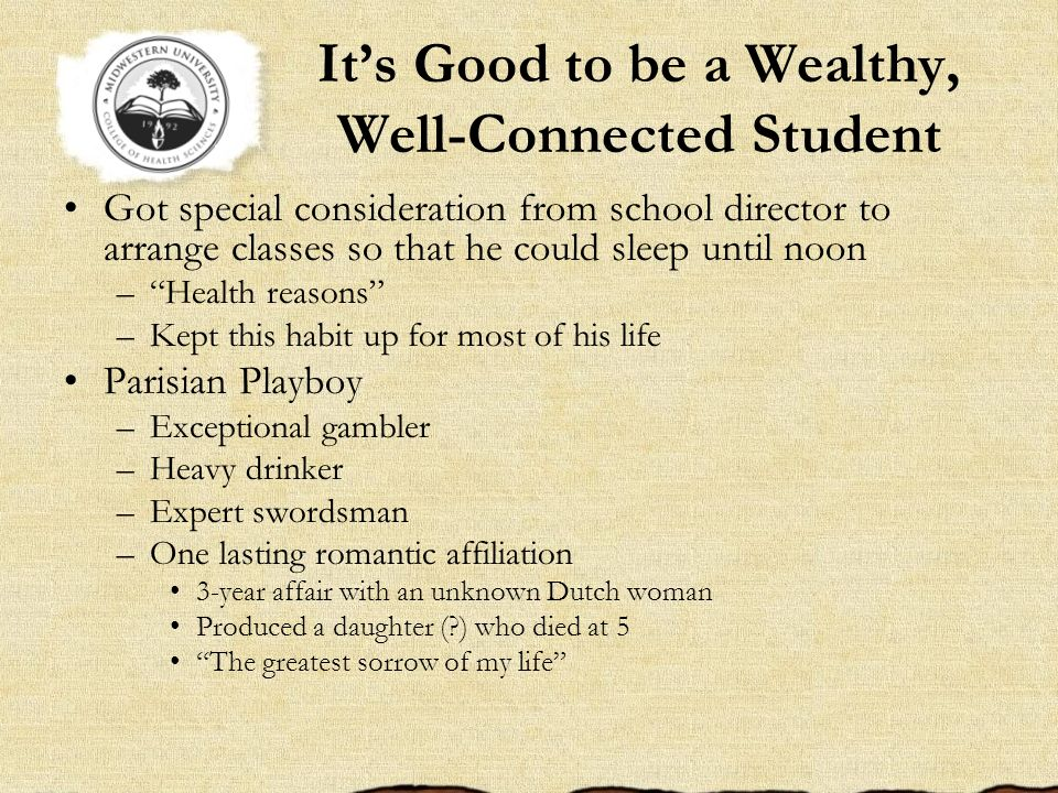 Its Good to be a Wealthy, Well-Connected Student Got special consideration from school director to arrange classes so that he could sleep until noon –