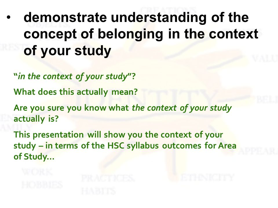 Dont waste your time on aspects of the text that are not relevant to the context of the area of study You should look for evidence from each of your texts which fit into the following categories (or contexts) of belonging and not belonging Your summary / research / analysis of a text is as simple as 1, 2, 3.
