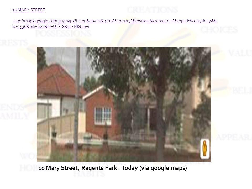 10 MARY STREET http://maps.google.com.au/maps hl=en&gbv=2&q=10%20mary%20street%20regents%20park%20sydney&bi w=1536&bih=624&ie=UTF-8&sa=N&tab=il 10 Mary Street, Regents Park.