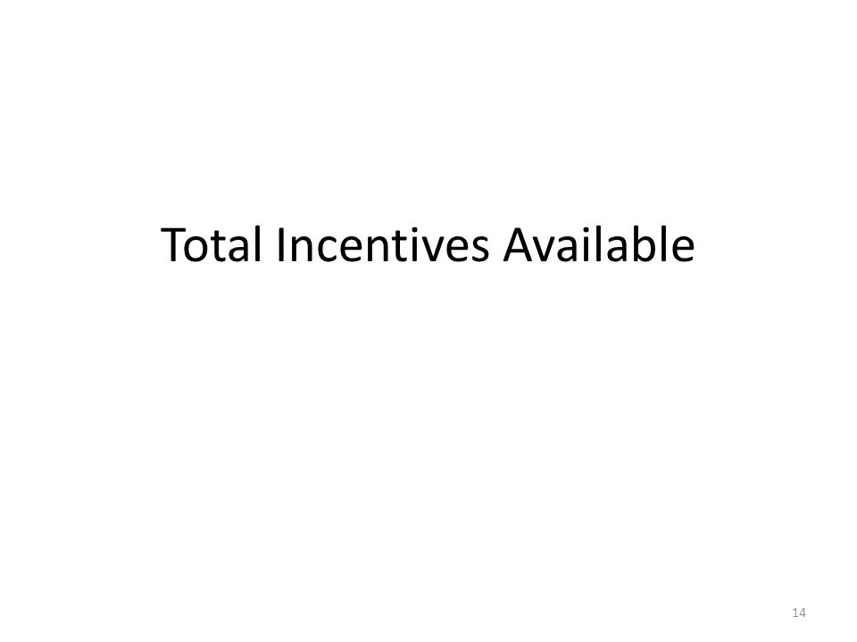 Total Incentives Available 14