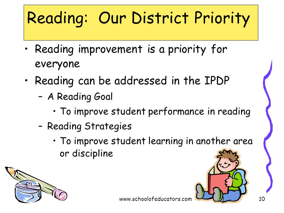 Reading: Our District Priority Reading improvement is a priority for everyone Reading can be addressed in the IPDP –A Reading Goal To improve student