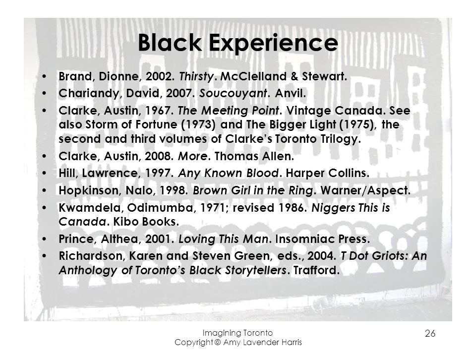 Black Experience Brand, Dionne, 2002. Thirsty. McClelland & Stewart.