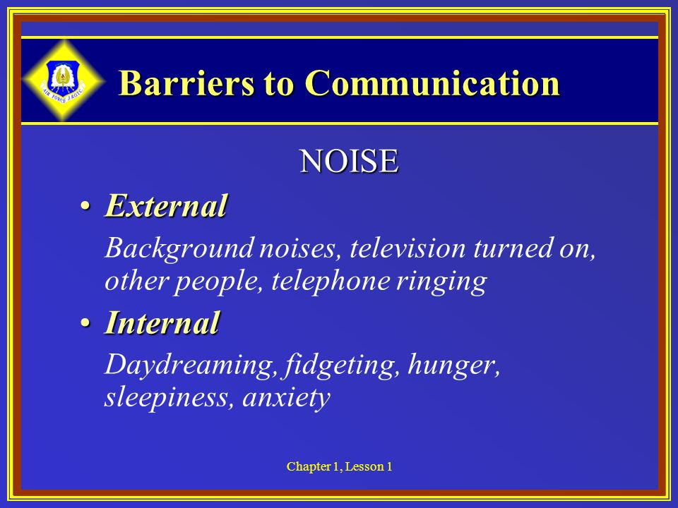 Chapter 1, Lesson 1 Barriers to Communication NOISE ExternalExternal Background noises, television turned on, other people, telephone ringing Internal
