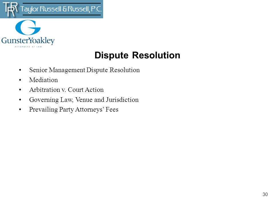 30 Dispute Resolution Senior Management Dispute Resolution Mediation Arbitration v. Court Action Governing Law, Venue and Jurisdiction Prevailing Part