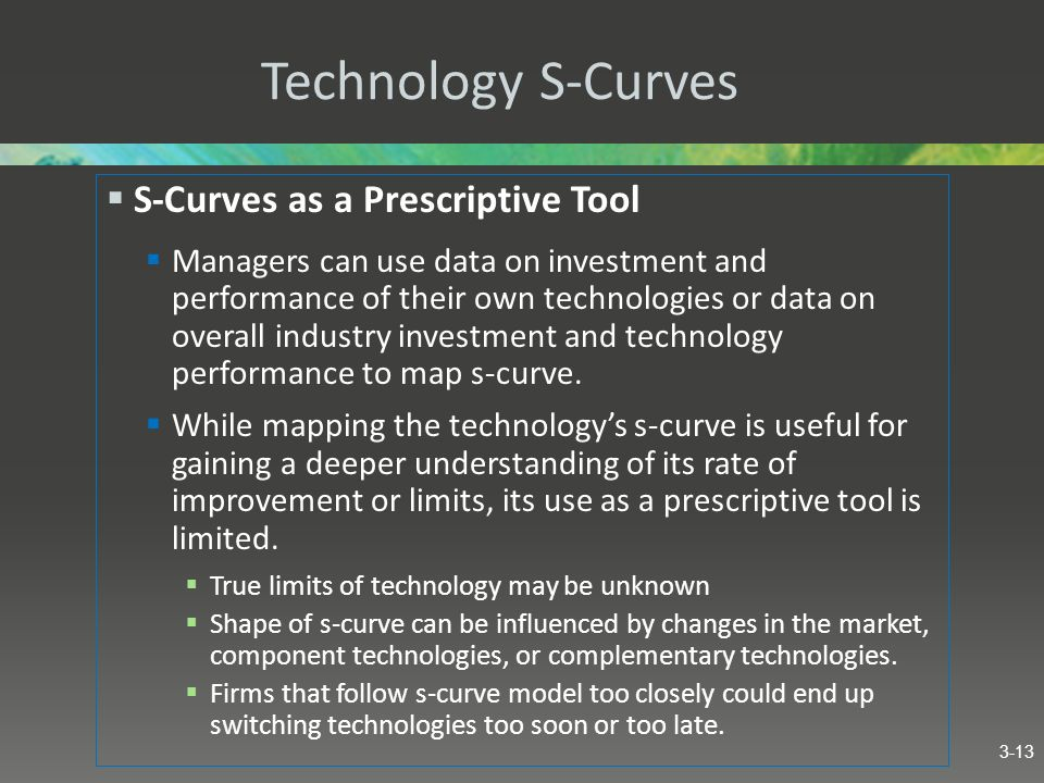 Technology S-Curves S-Curves as a Prescriptive Tool Managers can use data on investment and performance of their own technologies or data on overall i