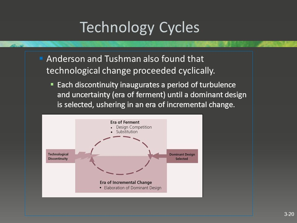 Technology Cycles Anderson and Tushman also found that technological change proceeded cyclically. Each discontinuity inaugurates a period of turbulenc