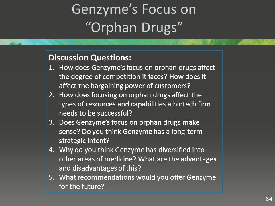 Genzymes Focus on Orphan Drugs Discussion Questions: 1.How does Genzymes focus on orphan drugs affect the degree of competition it faces? How does it