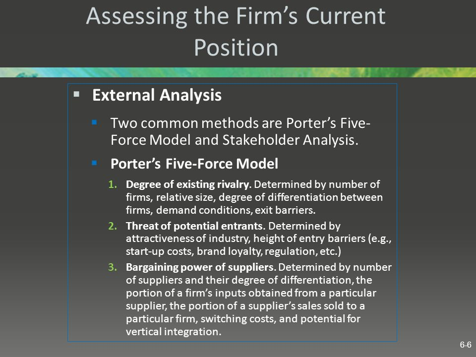 Assessing the Firms Current Position External Analysis Two common methods are Porters Five- Force Model and Stakeholder Analysis. Porters Five-Force M
