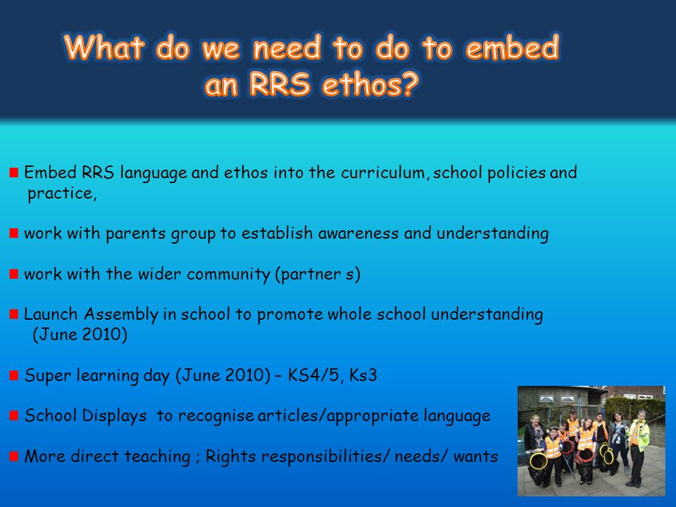 Embed RRS language and ethos into the curriculum, school policies and practice, work with parents group to establish awareness and understanding work
