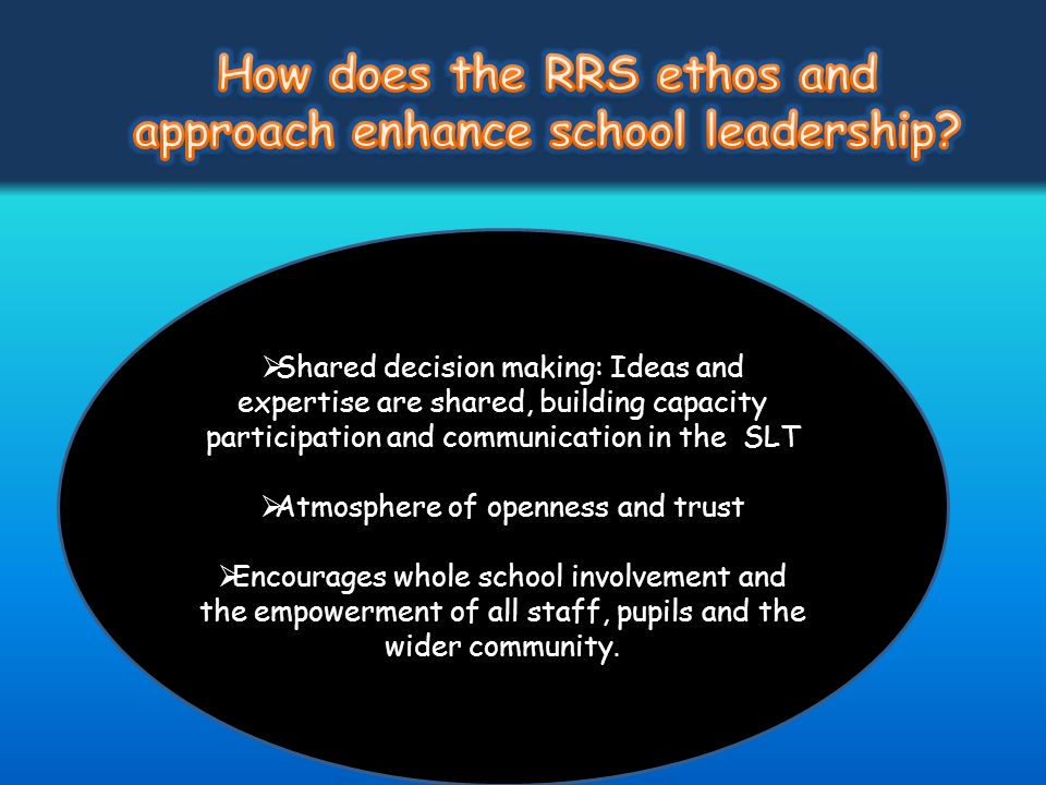 Shared decision making: Ideas and expertise are shared, building capacity participation and communication in the SLT Atmosphere of openness and trust