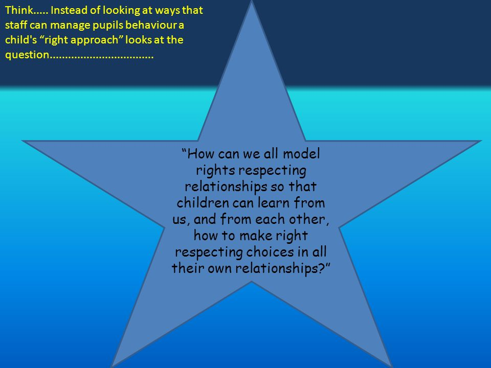 How can we all model rights respecting relationships so that children can learn from us, and from each other, how to make right respecting choices in