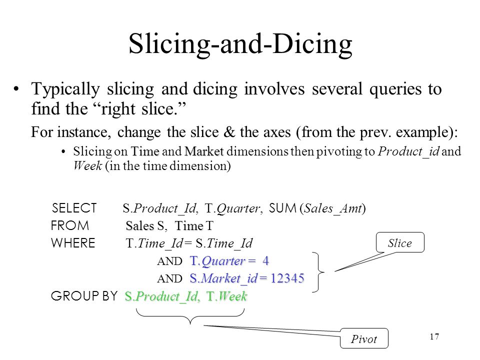 17 Slicing-and-Dicing Typically slicing and dicing involves several queries to find the right slice. For instance, change the slice & the axes (from t