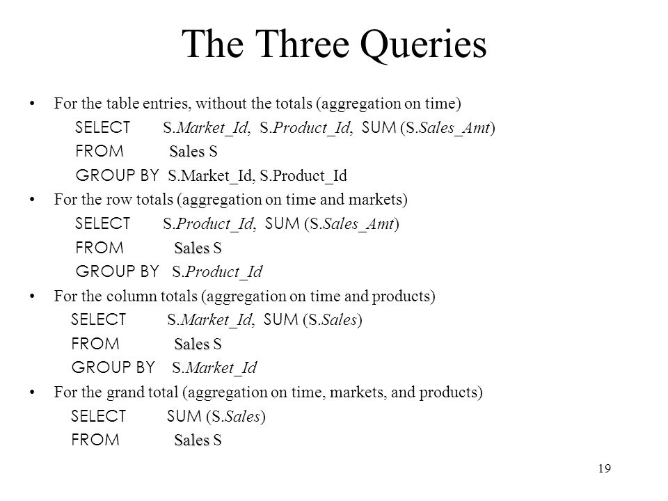19 The Three Queries For the table entries, without the totals (aggregation on time) SELECT S.Market_Id, S.Product_Id, SUM (S.Sales_Amt) Sales FROM Sa