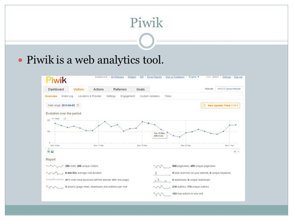Piwik Piwik is a web analytics tool.
