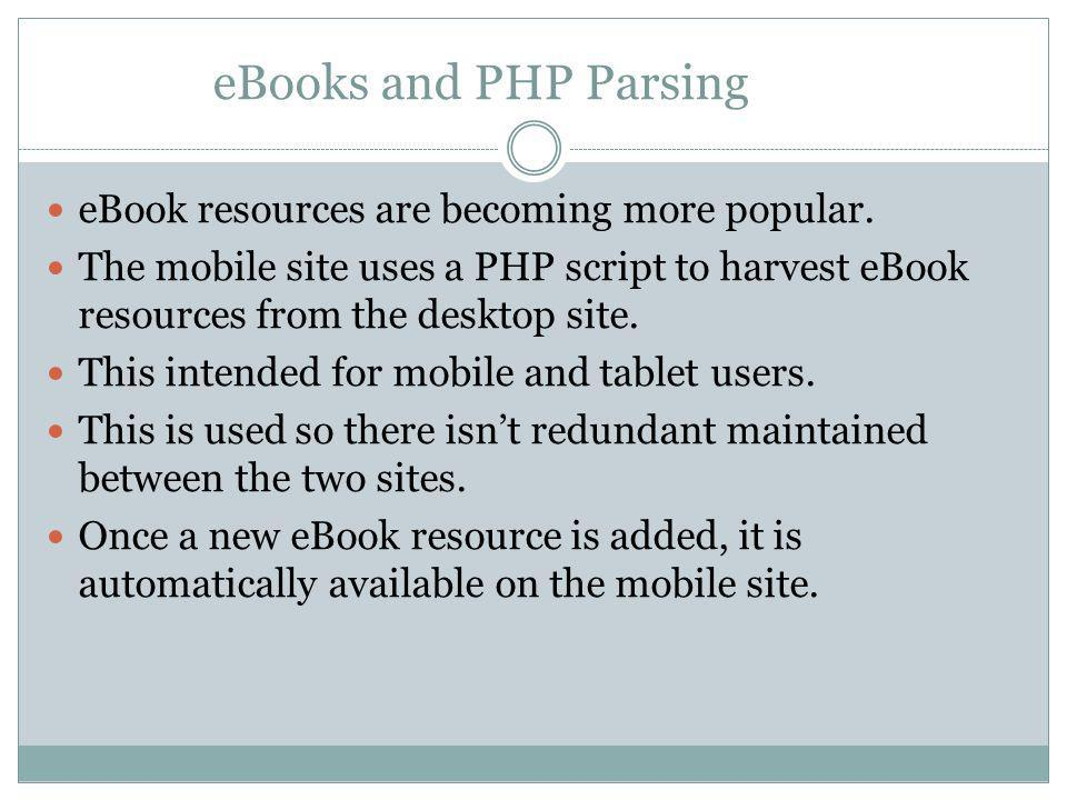 eBooks and PHP Parsing eBook resources are becoming more popular.