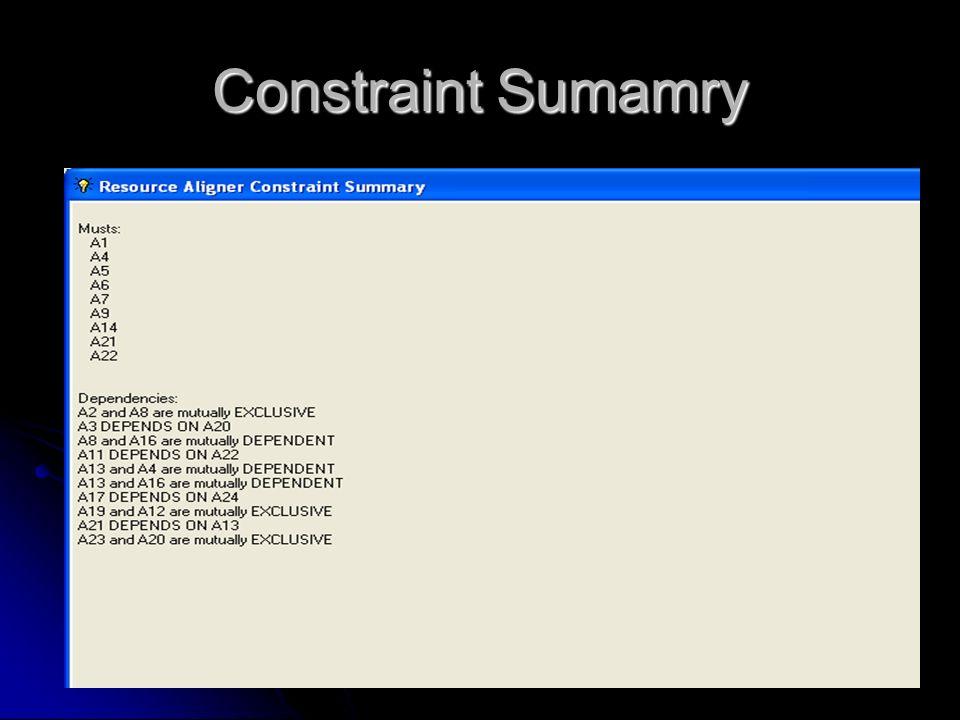 Constraint Sumamry