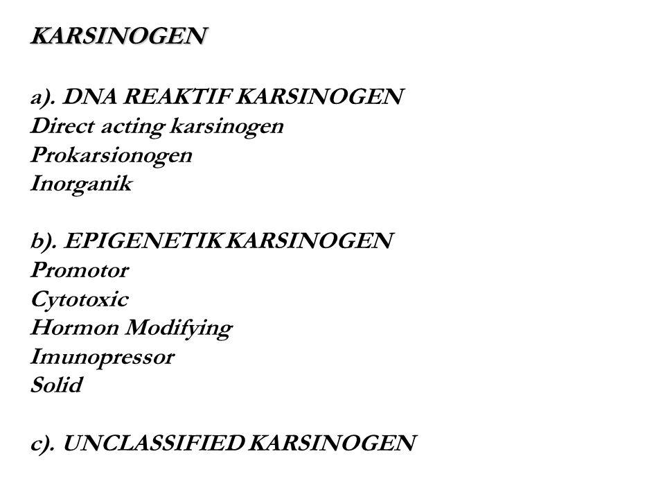 KARSINOGEN a). DNA REAKTIF KARSINOGEN Direct acting karsinogen Prokarsionogen Inorganik b). EPIGENETIK KARSINOGEN Promotor Cytotoxic Hormon Modifying