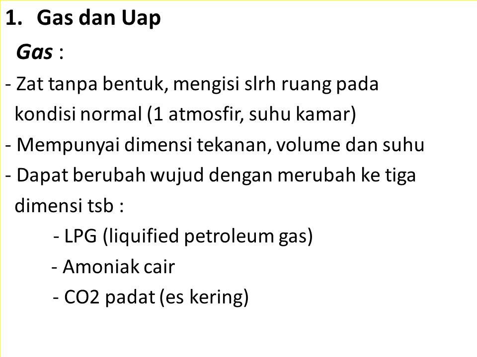 1.Gas dan Uap Gas : - Zat tanpa bentuk, mengisi slrh ruang pada kondisi normal (1 atmosfir, suhu kamar) - Mempunyai dimensi tekanan, volume dan suhu -