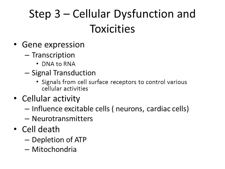 Step 3 – Cellular Dysfunction and Toxicities Gene expression – Transcription DNA to RNA – Signal Transduction Signals from cell surface receptors to c