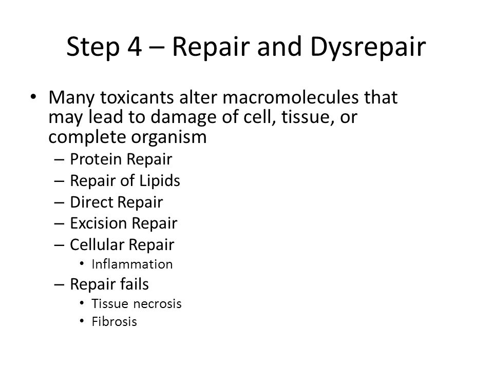 Step 4 – Repair and Dysrepair Many toxicants alter macromolecules that may lead to damage of cell, tissue, or complete organism – Protein Repair – Rep