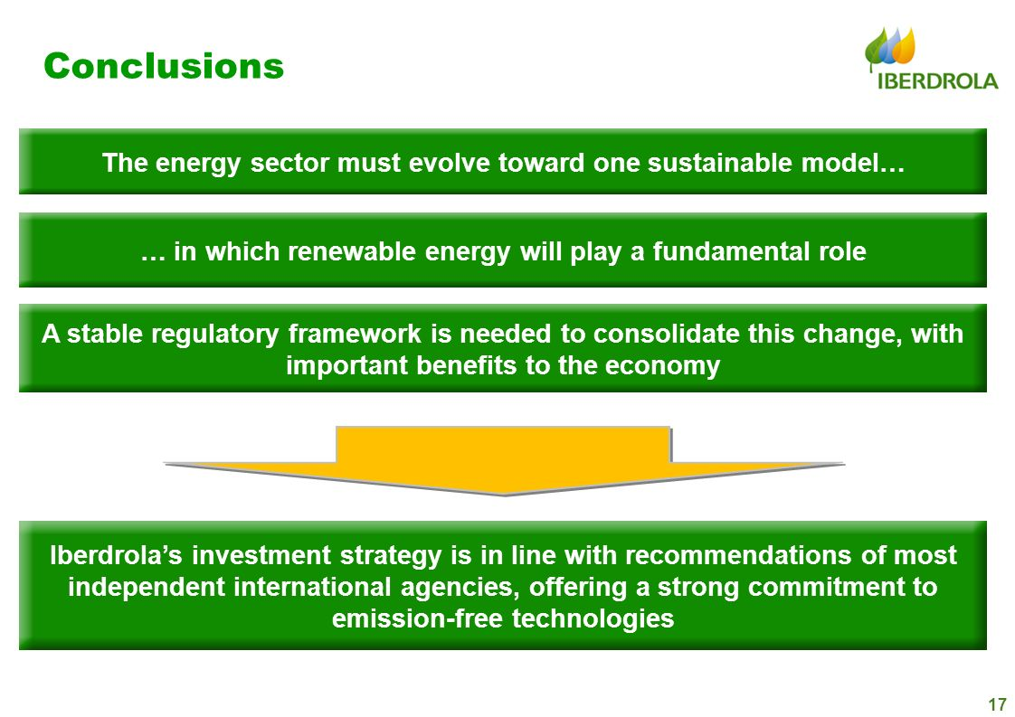 17 Conclusions The energy sector must evolve toward one sustainable model… … in which renewable energy will play a fundamental role A stable regulator