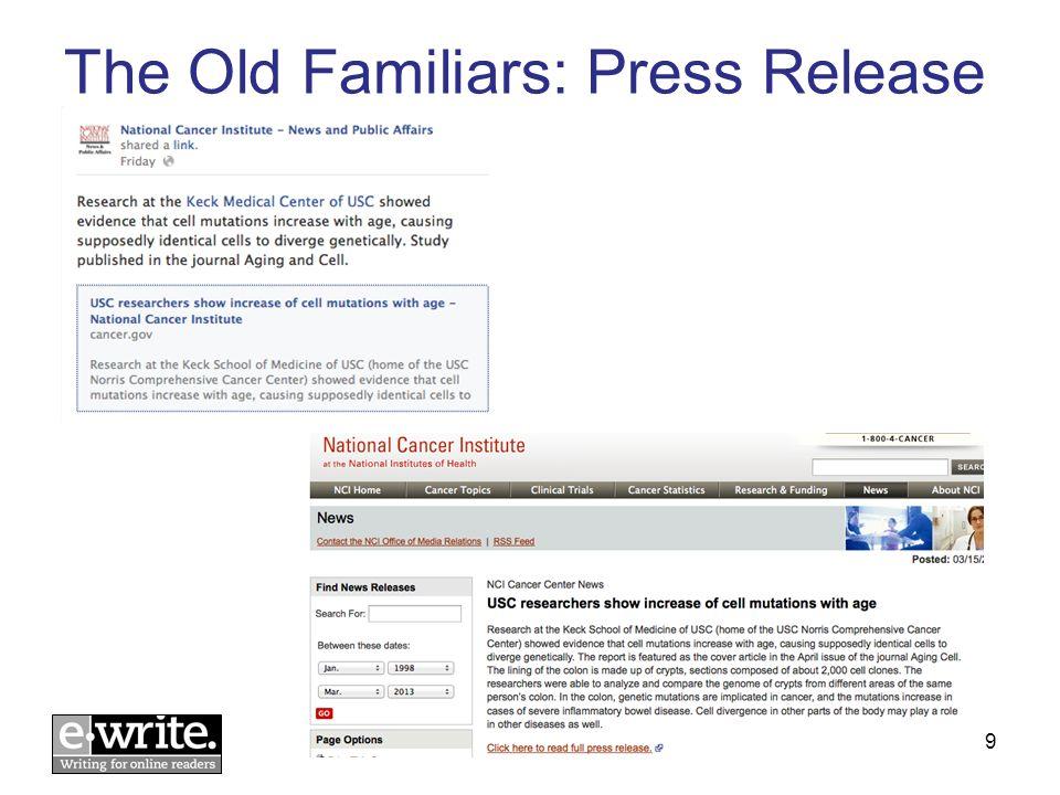 The Old Familiars: Press Release © E-WRITE 20139