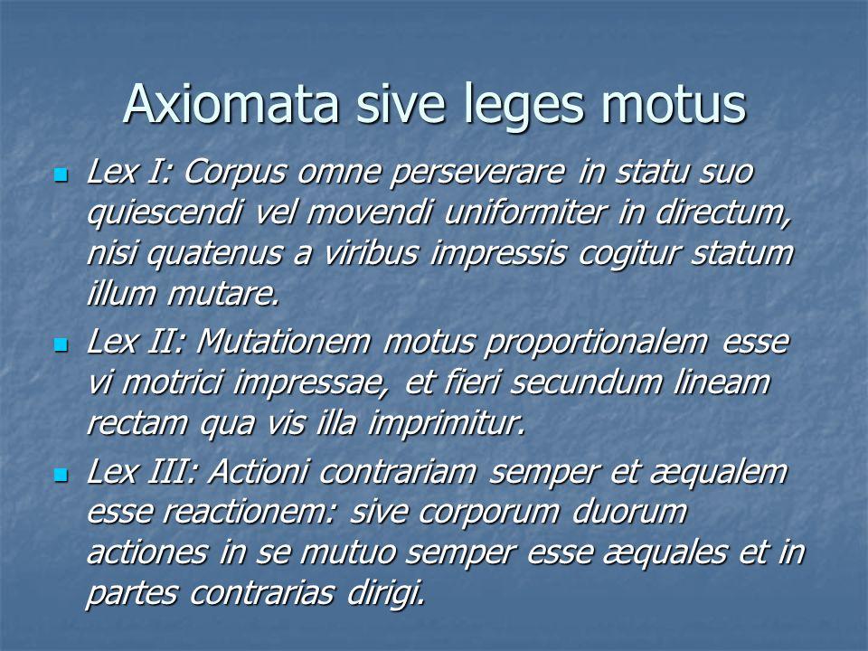 Axiomata sive leges motus Lex I: Corpus omne perseverare in statu suo quiescendi vel movendi uniformiter in directum, nisi quatenus a viribus impressi