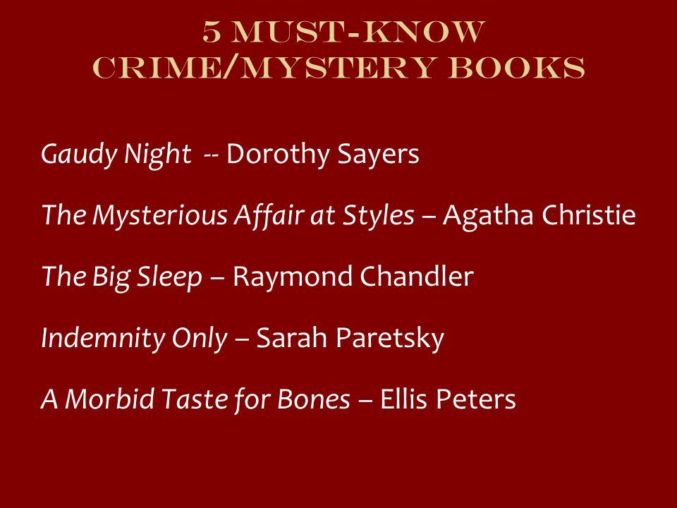 5 Must-Know Crime/Mystery Books Gaudy Night -- Dorothy Sayers The Mysterious Affair at Styles – Agatha Christie The Big Sleep – Raymond Chandler Indem