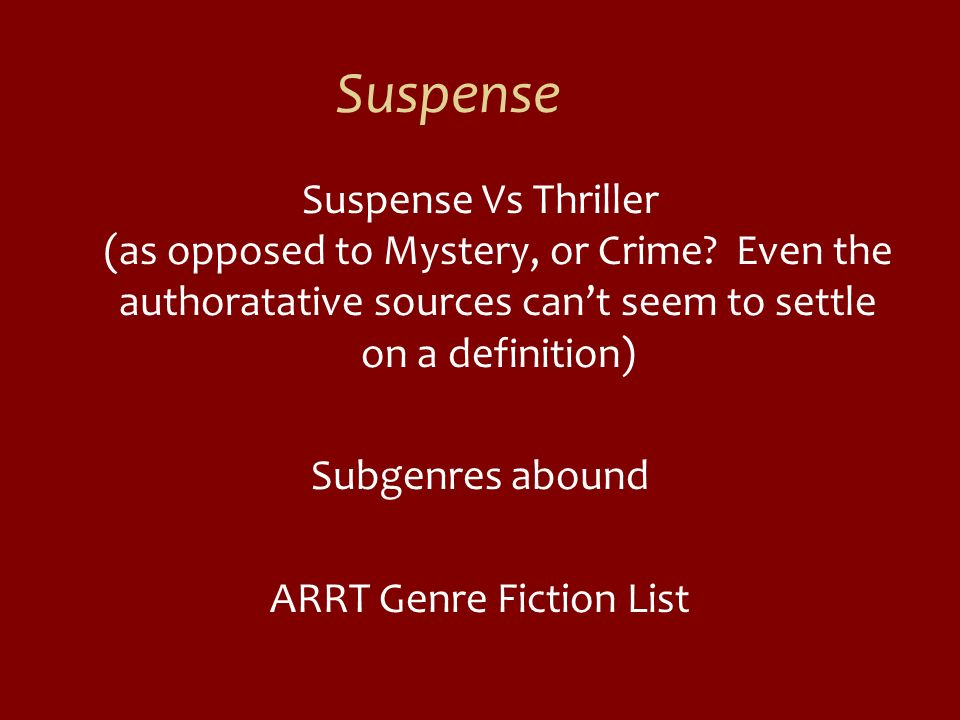 Suspense Suspense Vs Thriller (as opposed to Mystery, or Crime? Even the authoratative sources cant seem to settle on a definition) Subgenres abound A