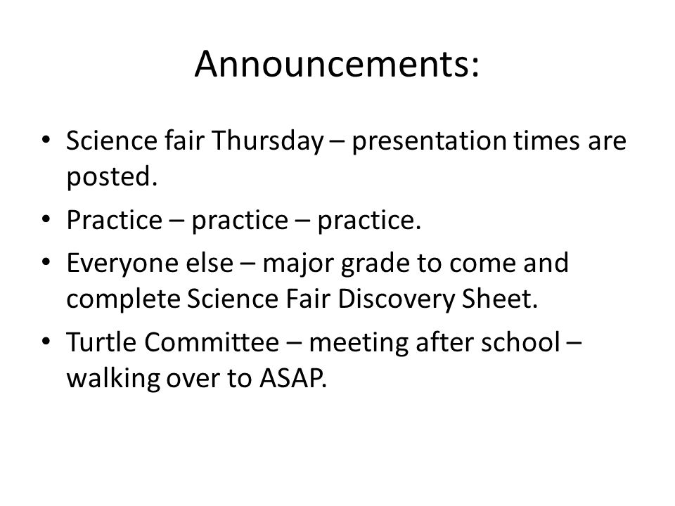 Ecybermission!!!!!!.Finish typing up your science fair pieces.