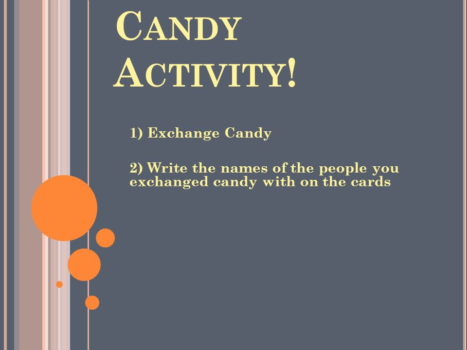 C ANDY A CTIVITY ! 1) Exchange Candy 2) Write the names of the people you exchanged candy with on the cards