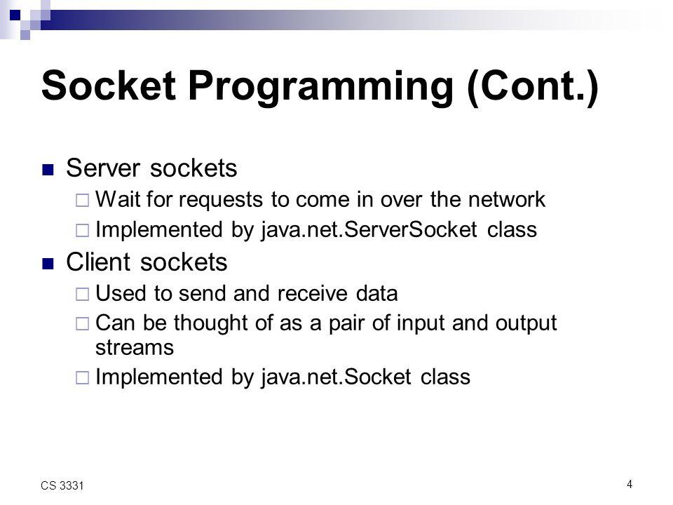 15 CS 3331 Testing Echo Client >= sspect% java EchoClient Sending: line 1 Sending: line 2 … Sending: line 10 Hello.