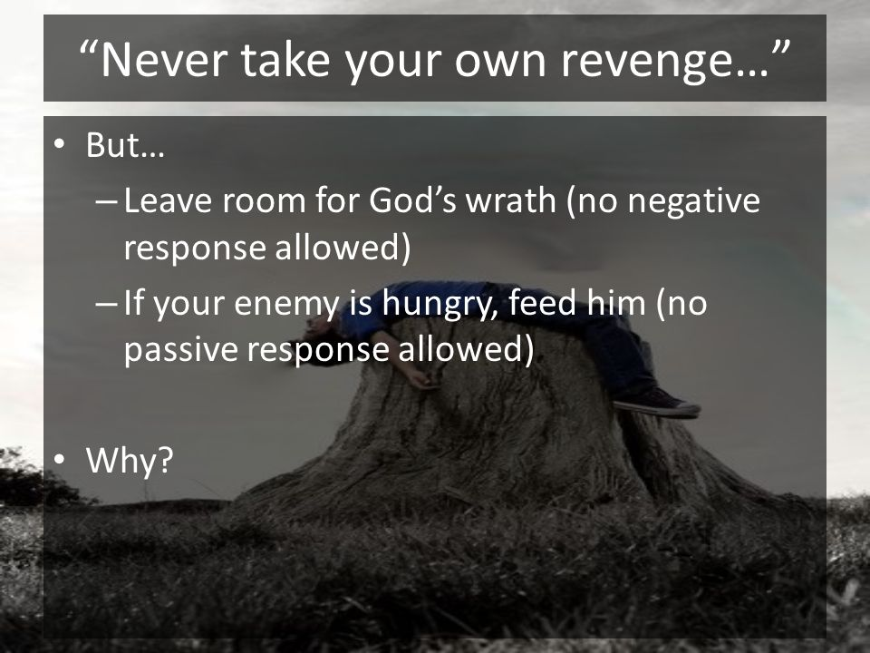 Never take your own revenge… But… – Leave room for Gods wrath (no negative response allowed) – If your enemy is hungry, feed him (no passive response
