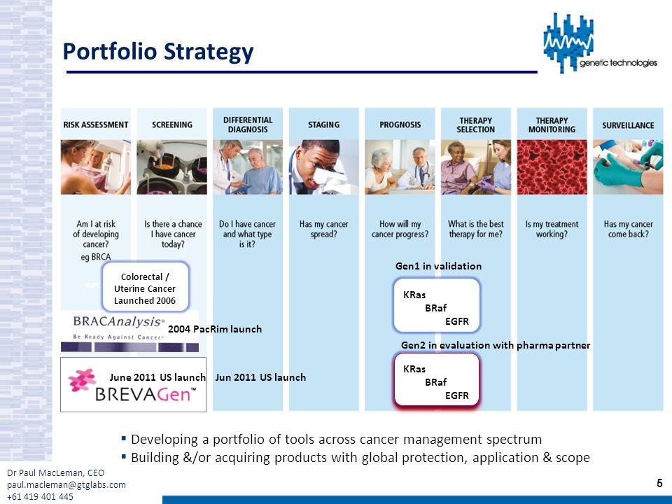 Portfolio Strategy Gen1 in validation June 2011 US launch 5 KRas BRaf EGFR KRas BRaf EGFR KRas BRaf EGFR Gen2 in evaluation with pharma partner Colore