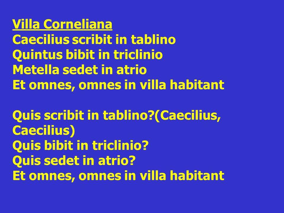 Villa Corneliana Caecilius scribit in tablino Quintus bibit in triclinio Metella sedet in atrio Et omnes, omnes in villa habitant Quis scribit in tabl