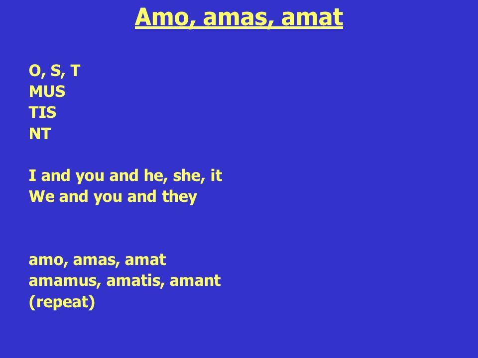 Amo, amas, amat O, S, T MUS TIS NT I and you and he, she, it We and you and they amo, amas, amat amamus, amatis, amant (repeat)