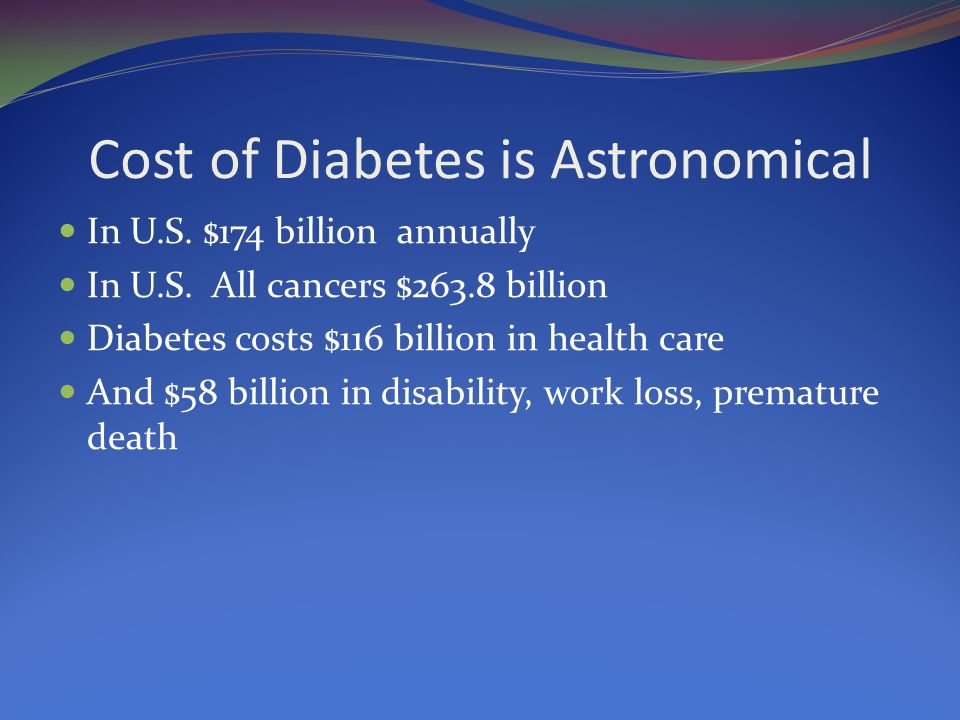 Cost of Diabetes is Astronomical In U.S. $174 billion annually In U.S. All cancers $263.8 billion Diabetes costs $116 billion in health care And $58 b