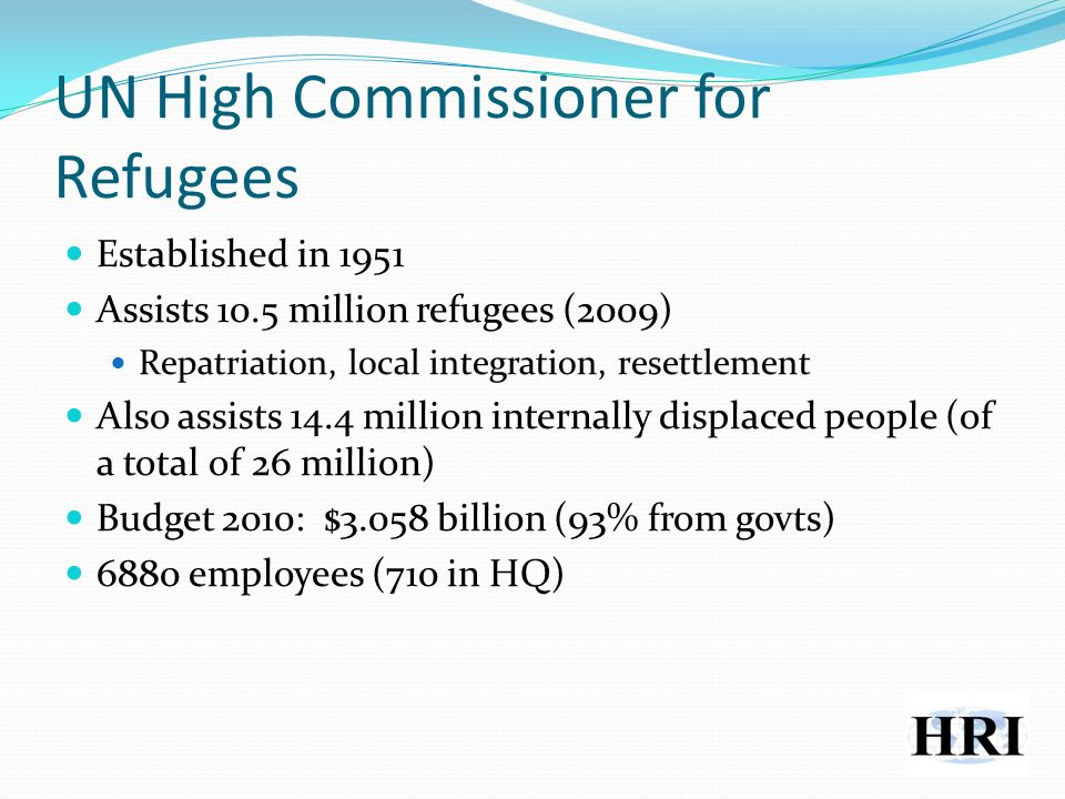 UN High Commissioner for Refugees Established in 1951 Assists 10.5 million refugees (2009) Repatriation, local integration, resettlement Also assists 14.4 million internally displaced people (of a total of 26 million) Budget 2010: $3.058 billion (93% from govts) 6880 employees (710 in HQ)