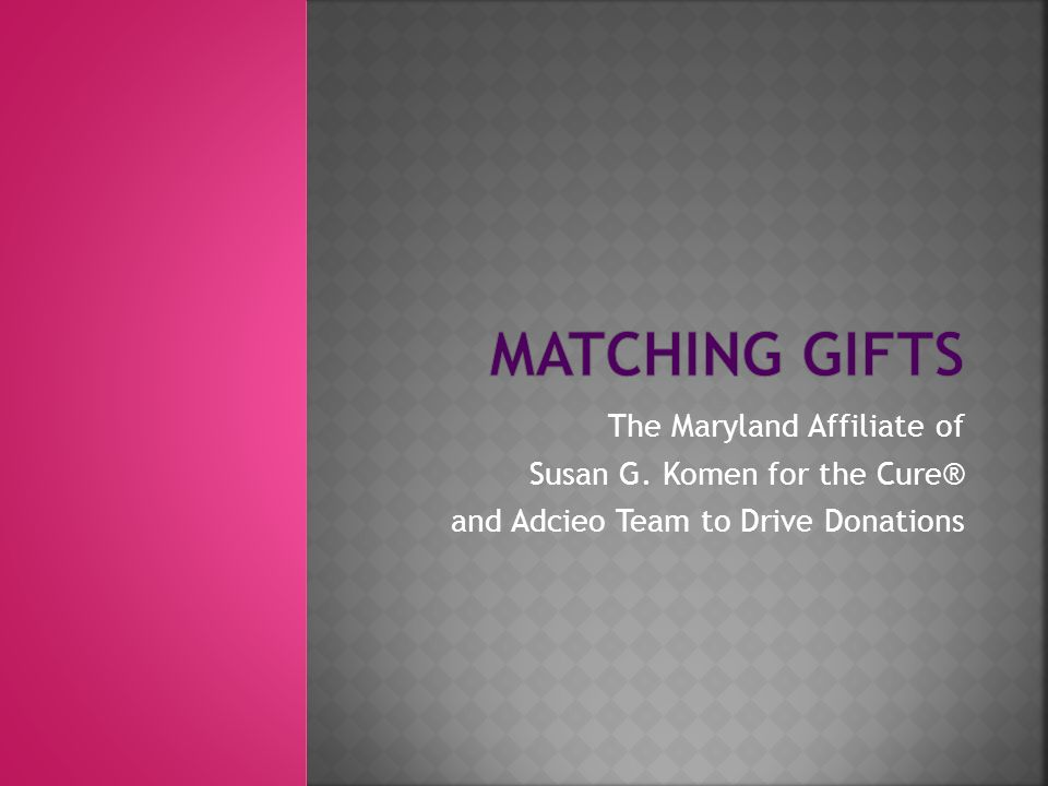 The Maryland Affiliate of Susan G. Komen for the Cure® and Adcieo Team to Drive Donations