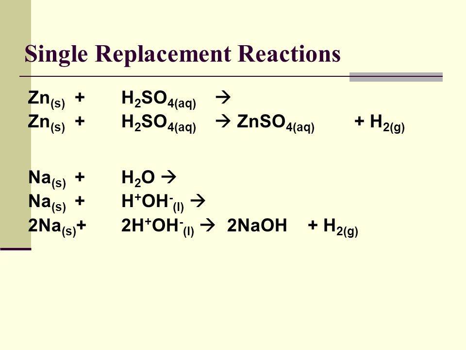 Single Replacement Reactions Easy to predict the products. Look at the ions… remember that a cation has to bond to an anion!! Dont forget about diatom