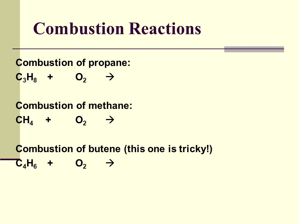 Combustion Reactions A combustion reaction is when oxygen combines with another compound or element producing energy. When hydrocarbons (C ? H ? ) com
