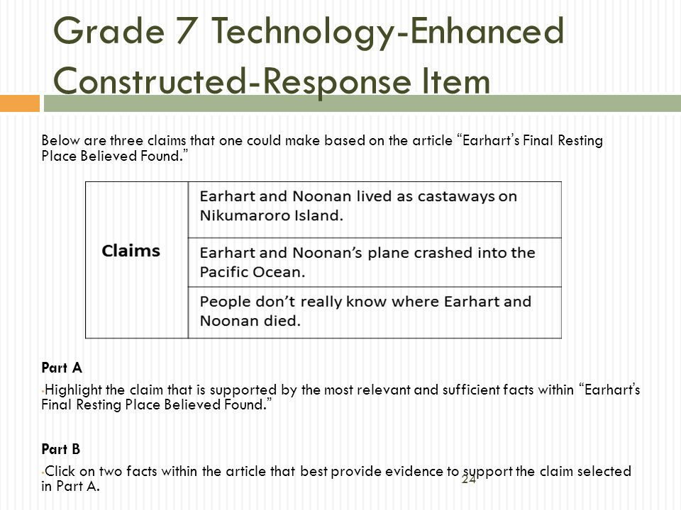 Below are three claims that one could make based on the article Earharts Final Resting Place Believed Found. Part A Highlight the claim that is suppor