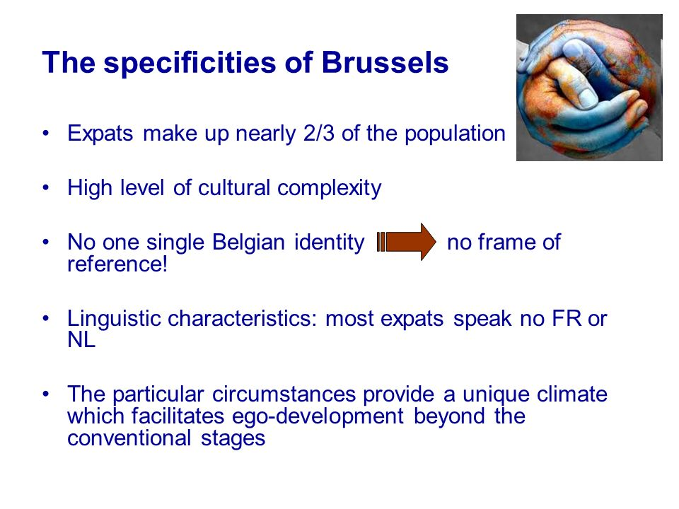 The specificities of Brussels Expats make up nearly 2/3 of the population High level of cultural complexity No one single Belgian identity no frame of reference.