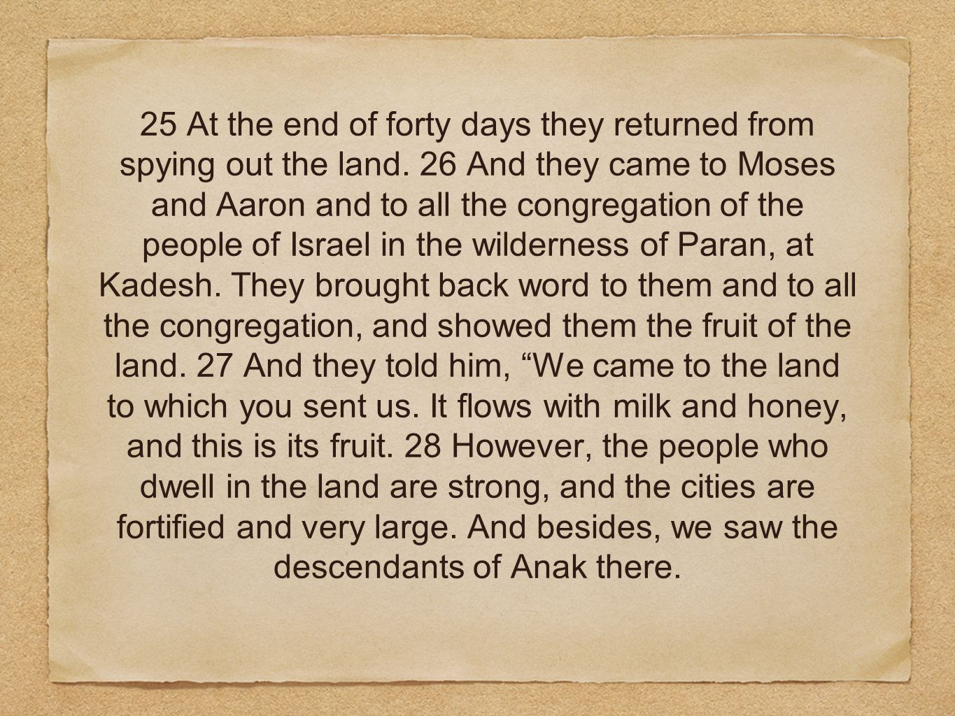 25 At the end of forty days they returned from spying out the land. 26 And they came to Moses and Aaron and to all the congregation of the people of I