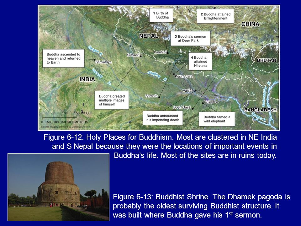 Figure 6-12: Holy Places for Buddhism. Most are clustered in NE India and S Nepal because they were the locations of important events in Buddhas life.