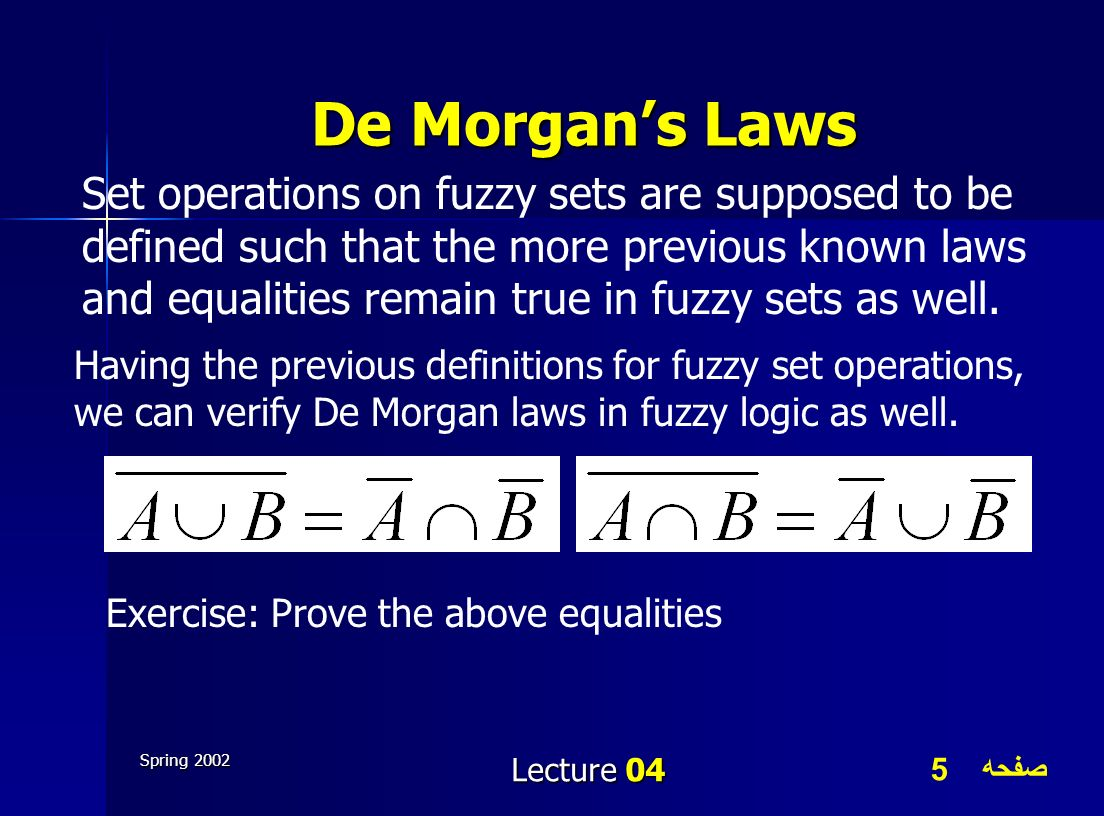 صفحه 5 Spring 2002 Lecture 04 De Morgans Laws Set operations on fuzzy sets are supposed to be defined such that the more previous known laws and equal