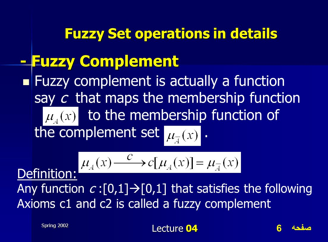 صفحه 6 Spring 2002 Lecture 04 Fuzzy Set operations in details Fuzzy complement is actually a function say c that maps the membership function to the m