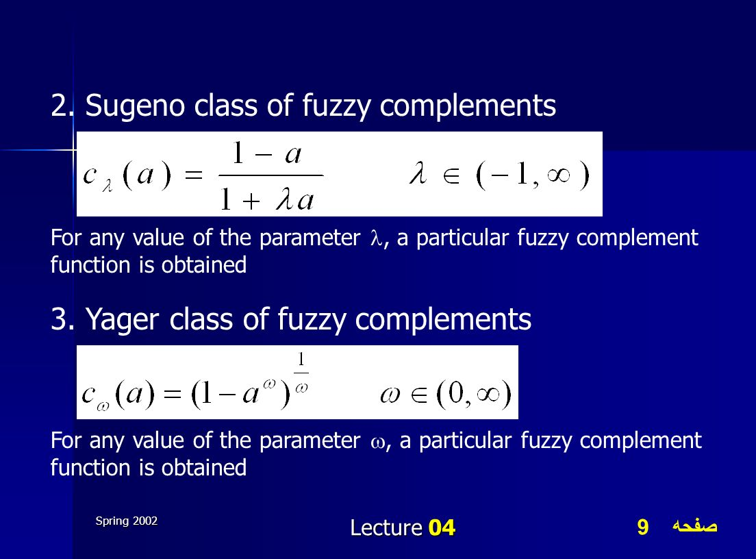صفحه 9 Spring 2002 Lecture 04 2. Sugeno class of fuzzy complements For any value of the parameter, a particular fuzzy complement function is obtained