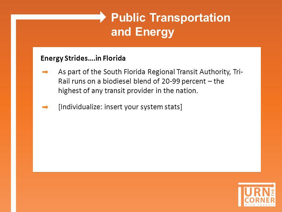 PUBLIC TRANSPORTATION EnergyEnvironmentEconomyInnovation Help Florida Turn the Corner with Transit