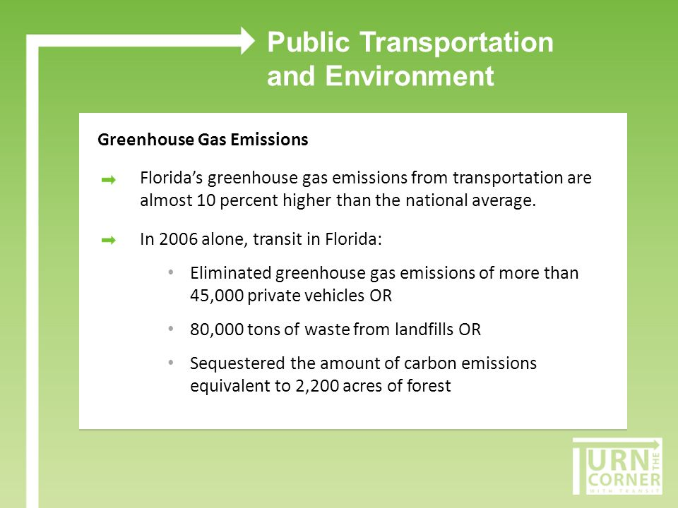 Public Transportation and Environment Greenhouse Gas Emissions In 2006, transit use and associated congestion relief led to: [Insert your agencys greenhouse gas emission numbers]